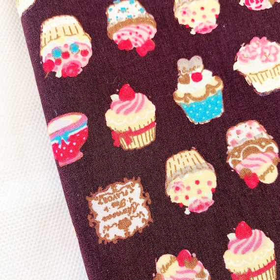 Cupcakes On Black Cotton Fabric Fat Quarter