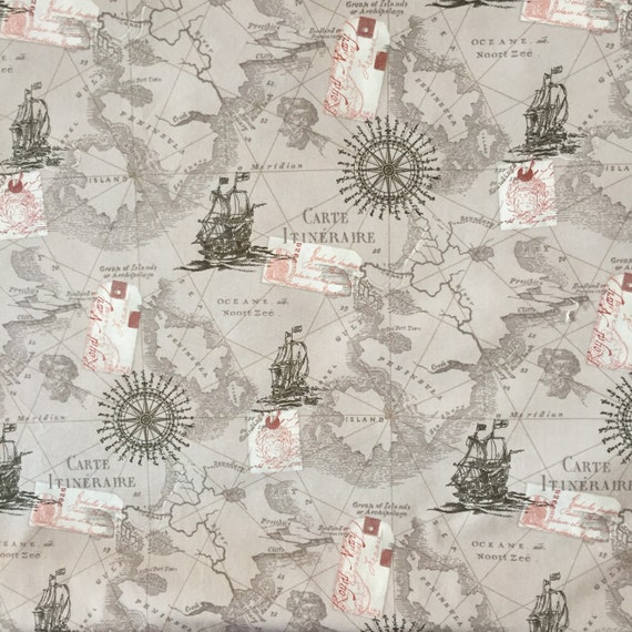 World Map Print Fabric.Map Fabric By The Yard World Map Fabric Vintage Map Print Etsy