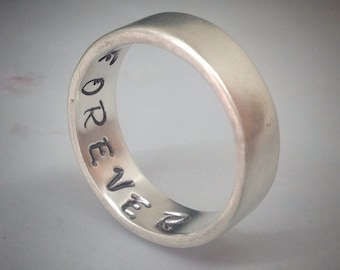 Valentines gifts for her, Rings for women, silver rings for women, Secret Message Ring - Sterling Silver Ring - Forever - secret Message