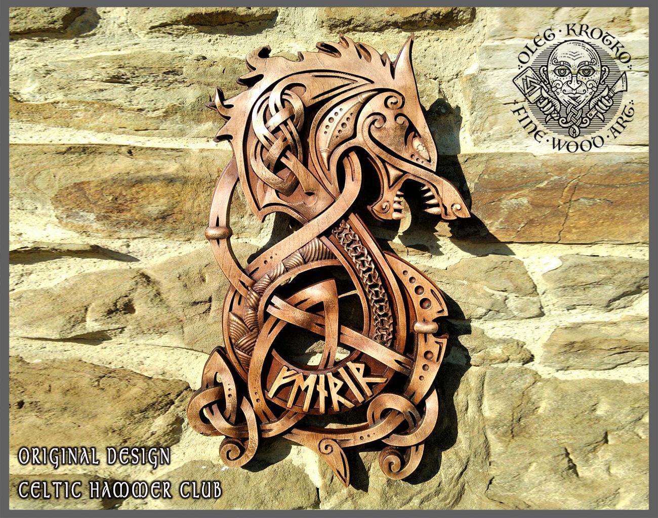 Fenrir Wolf Odin Vikings Decor Norse Art Thor Ethnic Wood | Etsy
