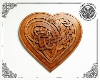 Luxury Carved Celtic Heart, Wooden Symbol of Eternal Love, Norse Wooden Picture, Druid Mythology, Heathen Home Decor, Viking Wall Hanging