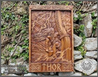 Thor Norse Wood Carving, Vikings Wall Woodwork Art, Odin Wall Hanging, Heathen Wooden Plague, Man Cave Decor, Celtic Knotwork, War Drakkar