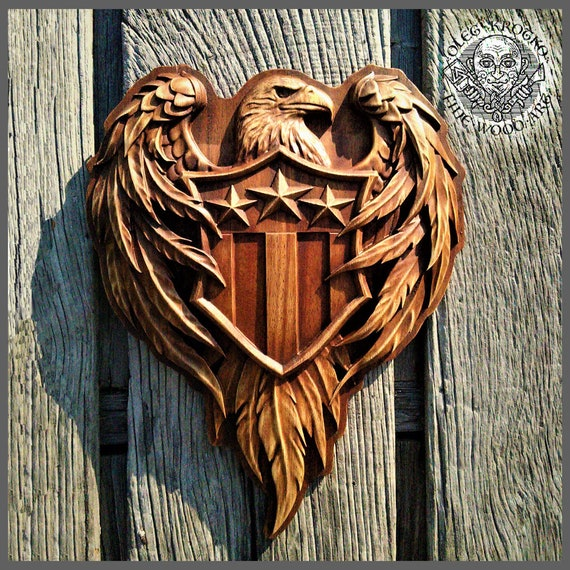 Patriotic American Flag Wooden Carved Sign Coat of Arms