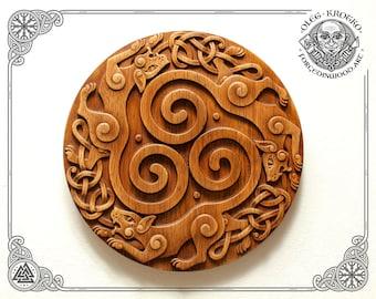 Cat Trisquel Plaque, Celtic Wooden Symbol, Norse Wall Hanging, Viking Home Art Decor, Valhalla Carving Design, Pagan Heathen Asatru Animal
