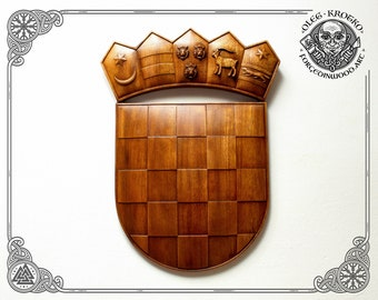 Example of Custom Order Wood Carving Coat of Arms Crest Croacia Wood Art Wall Hanging Decor Heraldic Art Crest Blazon Family Patriot