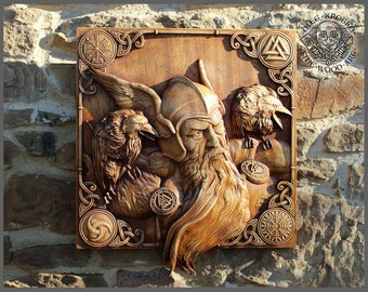 Odin Ravens Viking Mythology Icon Home Decor Norse Thor Wood Hugin Munin Pagan Gods Carving Heathen Asatru Celtic Norse Rune Wall Hanging