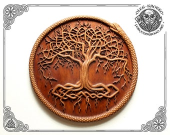Wood Carving Picture Yggdrasil Ravens Viking Odin Icon Home Decor Deer Norse Pagan Eagle Work Heathen Celtic Norse Snake Rune Wall Hanging