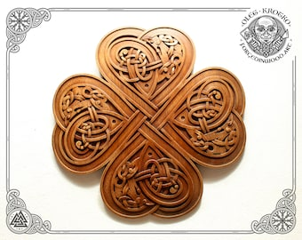 Luxury Carved Celtic Clover Hearts, Symbol of Eternal Love, Norse Wooden Picture, Druid Mythology, Heathen Home Decor, Viking Wall Hanging