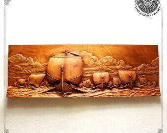 Luxury carved drakkars panorama, Viking boat wooden plaque, Norse home decor, Mythology wall hanging, Norse gods boat, Celtic wood art