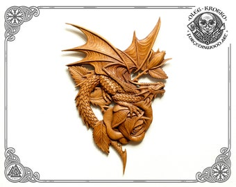 Luxury Carved Fantasy Dragon Art, Best Romantic Gift, Dragon Rose Plaque, Home Decor, Norse Mythology, Witchcraft Wall, Fantasy Love Dragon.