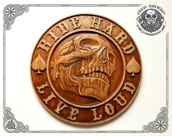 Wood Carving Plaque Harley Davidson Motor Cycles Biker Skull Rider Wall Hanging Art Home Decor Wooden American Picture Best Man Gift Forever