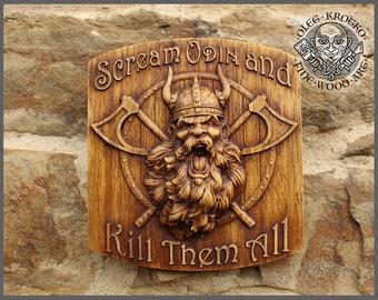 Odin Viking Wood Picture Pagan Gods Mythology Icon Home Decor Art Norse Thor Carving Heathen Asatru Celtic Norse Rune Wall Hanging