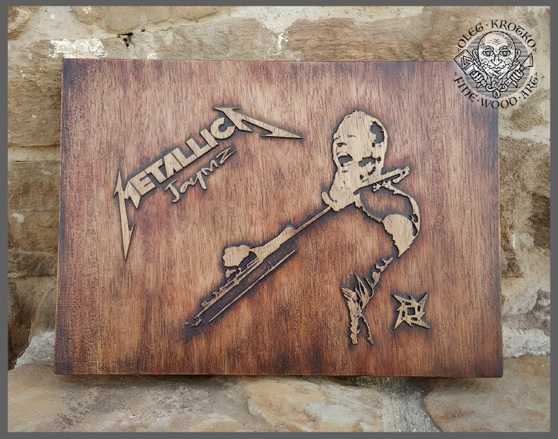 Metallica wall decor music fan wood art carved picture plaques etsy