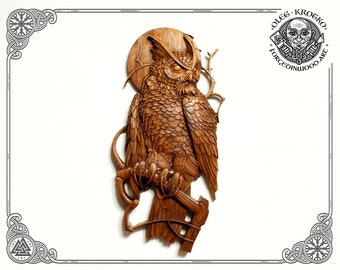 Luxury Carved Owl, Wood Carving Picture Animal, Wild Life Wall Art, Hunter Gift, Cabin Rustic Heathen, Home Decor, Wall Hanging Rustic