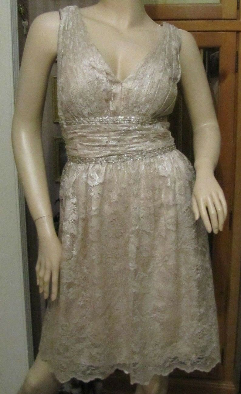Kay Unger New York Champagne Lace Beaded /& Sequins Dress size 16