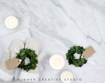 Download Free Square Styled Stock Photography | Grey and White Winter Mockup | Christmas Wreath | Christmas Photography | Holiday Styled Image PSD Template