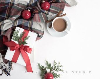 Download Free Styled Stock Photography | Christmas Gift with Red Ribbon & Plaid 9 | Ipad Mockup | Styled Photography | Digital Image PSD Template