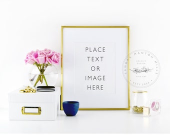 Styled Stock Photography Frame | Pink Roses and Gold Desk Accessories | Picture frame | Styled desktop