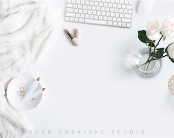 Styled Stock Photography   White and Gold Flatlay with desk Accessories   Styled Photography   Digital Image