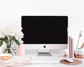 Styled Stock Photography | Desktop with White Roses, Rose Gold Desk Accessories | Styled Photography | Digital Image
