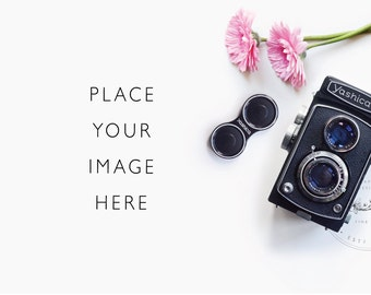 Styled Desktop | Camera and pink daisy | Product Photography | Black and Pink