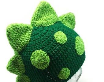 Dinosaur Hat- Crochet Dinosaur Hat- Crochet Dragon Hat- Dragon- Dinosaur- Crochet Hat- Spiked Hat- Mohawk Hat