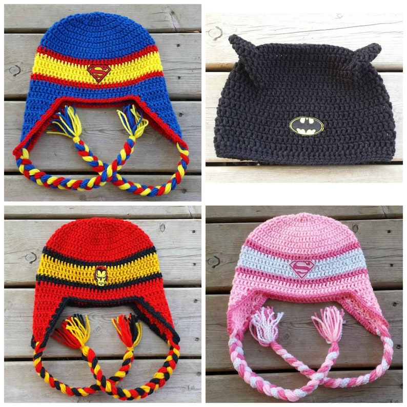 882eaeb1df60a Superhero Hats Crochet Hat Crochet Braids Marvel DC