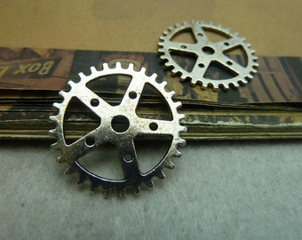 10 Clock Gear Charms Antique Silver Tone 2 Sided Large Size DYS5998