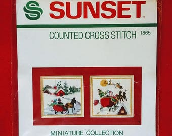 Vintage Sunset Counted Cross Stitch Kit Miniature Collection Christmas Scenes