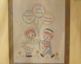 Vintage Raggedy Ann and Andy Embroidery Birth Sampler Kit 1976
