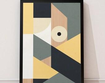 Mid century modern, Geometric print, Geometric art, Yellow art print, Scandinavian print, Abstract print, Minimalist art, Modern print, 8x10