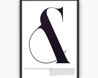 Design poster, Modern print, Typography Wall Art, Typographic print, Ampersand print, Modern design, Wall art, Wall print, Home decor
