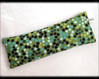 Flax Seed Eye Pillow/Mask - Lavender,Rose,Unscented - Blue and Green Dots