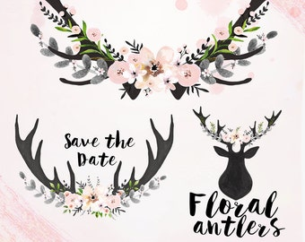 Watercolor Floral antlers Clipart, Wedding floral Clip art, pastel flowers, wedding flowers clip art, Watercolour Hand Painted Clip Art