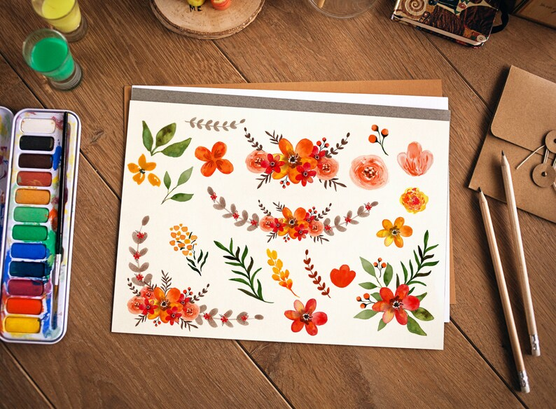 Watercolor Fall Flower Clipart fall Wedding floral Clip ...