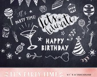 Birthday Clipart, Chalkboard Birthday Clipart, party invitation clipart, birthday chalkboard design elements, party overlays, birthday party
