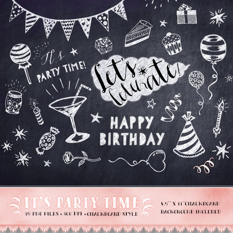 Birthday Clipart Chalkboard Party