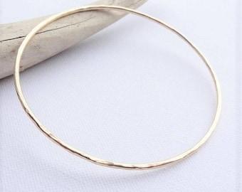 Golden bangles minimalist hammered aluminum bracelets by SteamyLab
