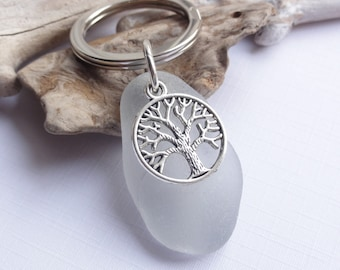 Scottish thistle hand painted sea glass bag charm Scotland crafted gift keyring