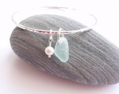 Eco Scottish Sea Glass Sterling Silver Bangle Handmade Recycled Silver made to your size Surf Tumbled Sea Glass from Scotland Celtic