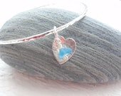 Eco Scottish Sea Glass Sterling Silver Heart Bangle Handmade Recycled Silver Made to your size Surf Tumbled Sea Glass from Scotland
