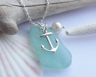 Scottish Sea Glass and Sterling Silver Anchor Necklace - Aqua Sea Glass from Scotland ***Sterling Silver or Leather Necklace***