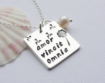 Love Conquers All - Latin Sterling Silver Necklace - AMOR VINCIT OMNIA - Dandelion Necklace - Choose Chain Length