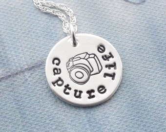Sterling Silver Camera Necklace - CAPTUTRE LIFE (Choose to have an add on pearl or crystal)