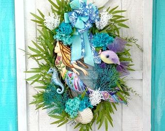 Everyday Wreath Coastal Christmas Wreath,Angel Beach wreath for front door,Hotel Decor,Beach Wall Art Beach wreath Angel Door hanger,