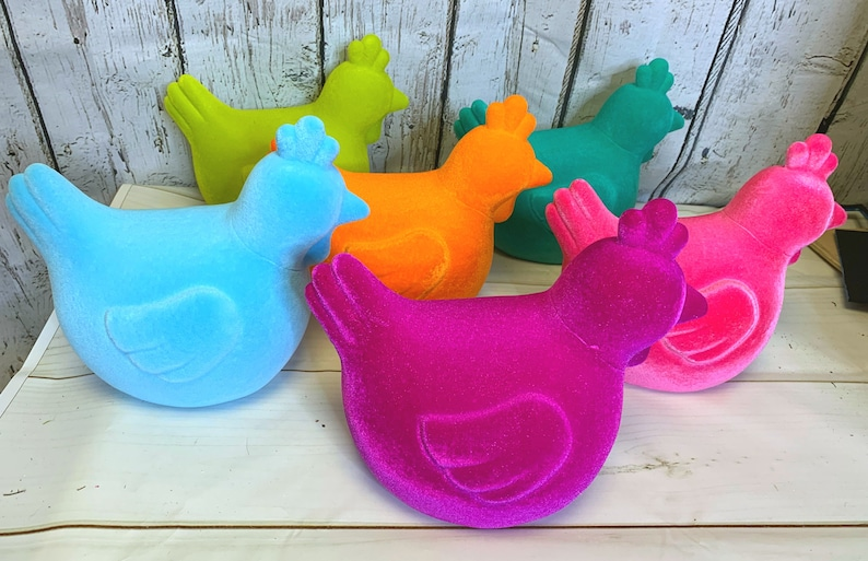 Farmhouse Decor Flocked Rooster DIY Supplies, Flocked Bunnies Wreath Attachments,Flocked Chickens Colorful Easter Spring Decor