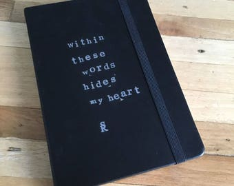 Limited edition Notebook 'Within these words hides my heart' A5 (15x21 cm)