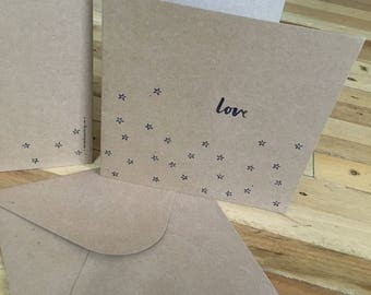 Double card 'Love' 15x15 cm with envelop