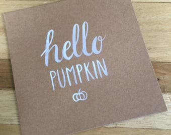 Double card 'Hello Pumpkin' 13x13 cm with envelop