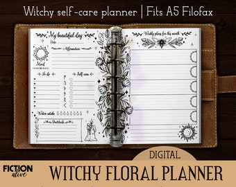 Witch's planner printable A5 size ink-saver | Print yourself undated floral journal | Self care magic witchy printable | Black white planner